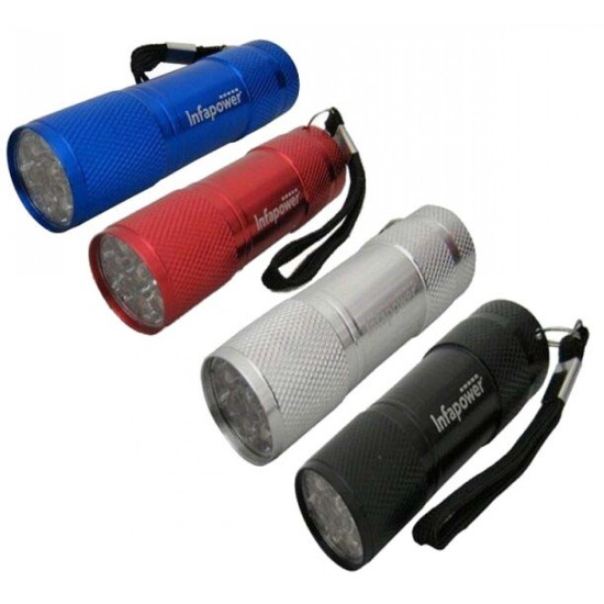 Infapower 9-LED Torch Assorted Colours Batteries Included